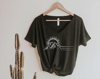 Sunset Mountains Shirt Oversized Slouchy V Neck Tee Loose tshirt boho gift for her