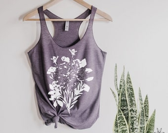 Flower Bouquet Tank Top Botanical Flowers Ladies Heathered Floral wildflower Shirt mother's day gift