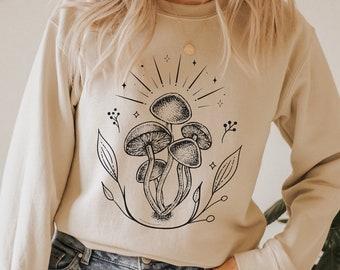 Mushroom Botanical shirt Sweatshirt Gildan Unisex, gift for her, outdoorsy, nature inspired, sun shirt