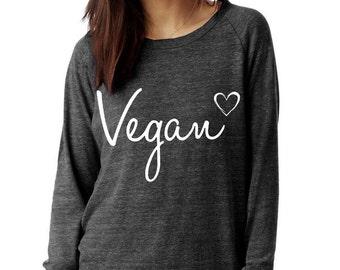 VEGAN Heart shirt Champ Sweatshirt UNISEX screenprinted Mens Ladies 14fcHuGf64