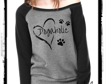 DOGAHOLIC Bella Wide neck Sweatshirt Off the shoulder slouchy long sleeve shirt  screenprint