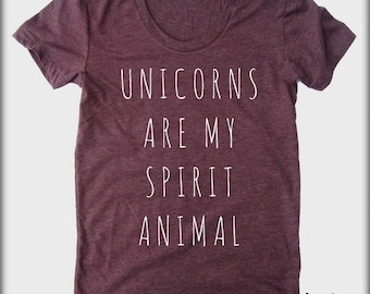 Unicorns are my spirit Animal American Apparel tee tshirt shirt Heathered vintage style screenprint ladies scoop top