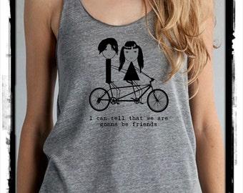 Jack Meg Bike i can tell that we are gonna be friends Girls Heathered Tank Top Shirt screenprint Alternative Apparel, the white stripes