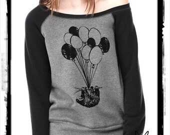 SLOTH flying balloons Bella Wide neck Sweatshirt Off the shoulder slouchy long sleeve shirt screenprint