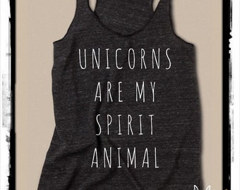 Unicorns are my Spirit Animal Ladies Heathered Tank Top Shirt screenprint Alternative Apparel
