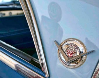 Blue Packard Classic Car Photo Art - Vintage Car Detail Photography by Liberty Images - Two Tone Vintage Automobile - Chromeography Emblem