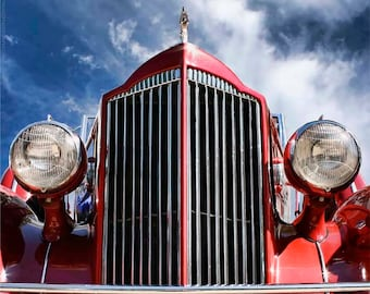 Classic Car Photography - 1930s Red Packard Grille Wall Art - Art Deco Automobile Photos - Vintage Car Art by Liberty Images - Glamourous