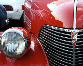 Cherry Red Classic Car Photo — 1939s Chevy DeLuxe Detail Photograph by Liberty Images — Silver Chrome 1930s Chevrolet Grille Wall Art