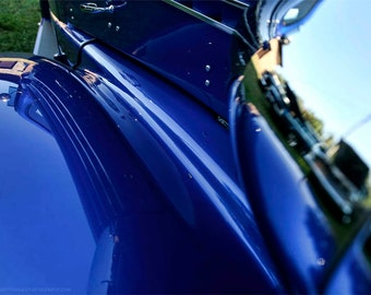 Electric Blue Classic Car Detail Photo — 1938 Chevy Coupe Abstract Wall Art — Vintage Car Photography by Liberty Images — Silver Chrome
