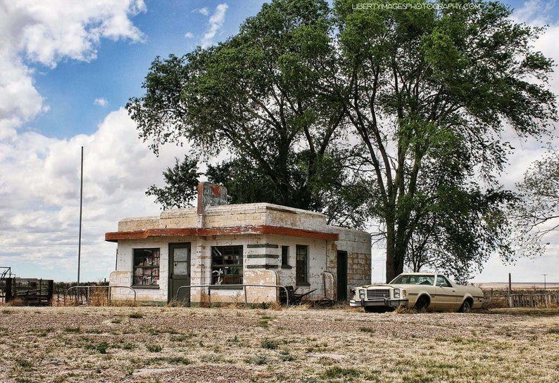Old Route 66 Photograph  Abandoned Building Photo  Art image 0
