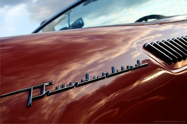 Cherry Red T-Bird Photo Art  Ford Thunderbird Classic Car image 0
