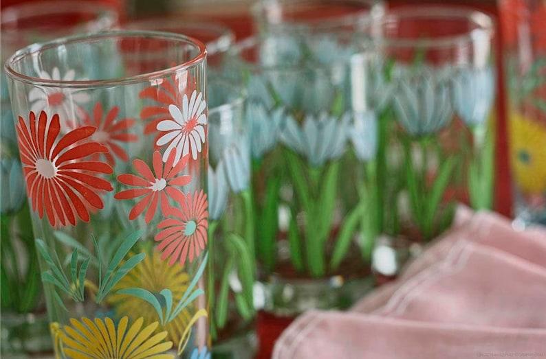 Kitchen Photo Art  Pretty Floral Glasses Photo  Vintage Tea image 0