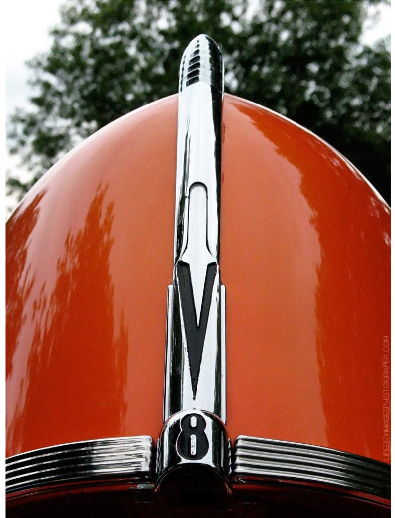 Orange 1940 Ford Photo Art  Classic Car Detail Photography  image 0
