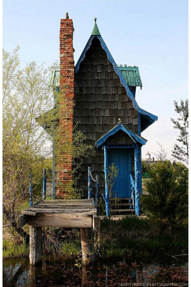 Tiny Blue House Documentary Photograph  Whimsical image 0