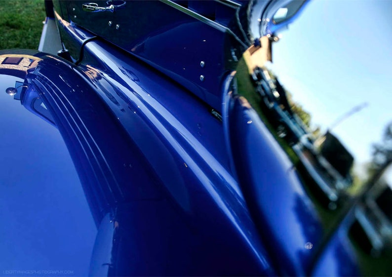Electric Blue Classic Car Detail Photo  1938 Chevy Coupe image 0