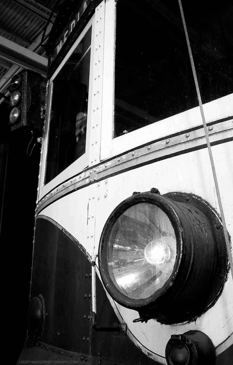 Trolley Headlight Black and White Photograph  B&W Vintage image 0