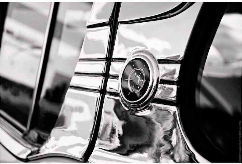 Black and White Classic Car Detail Photo  Packard Clipper image 0