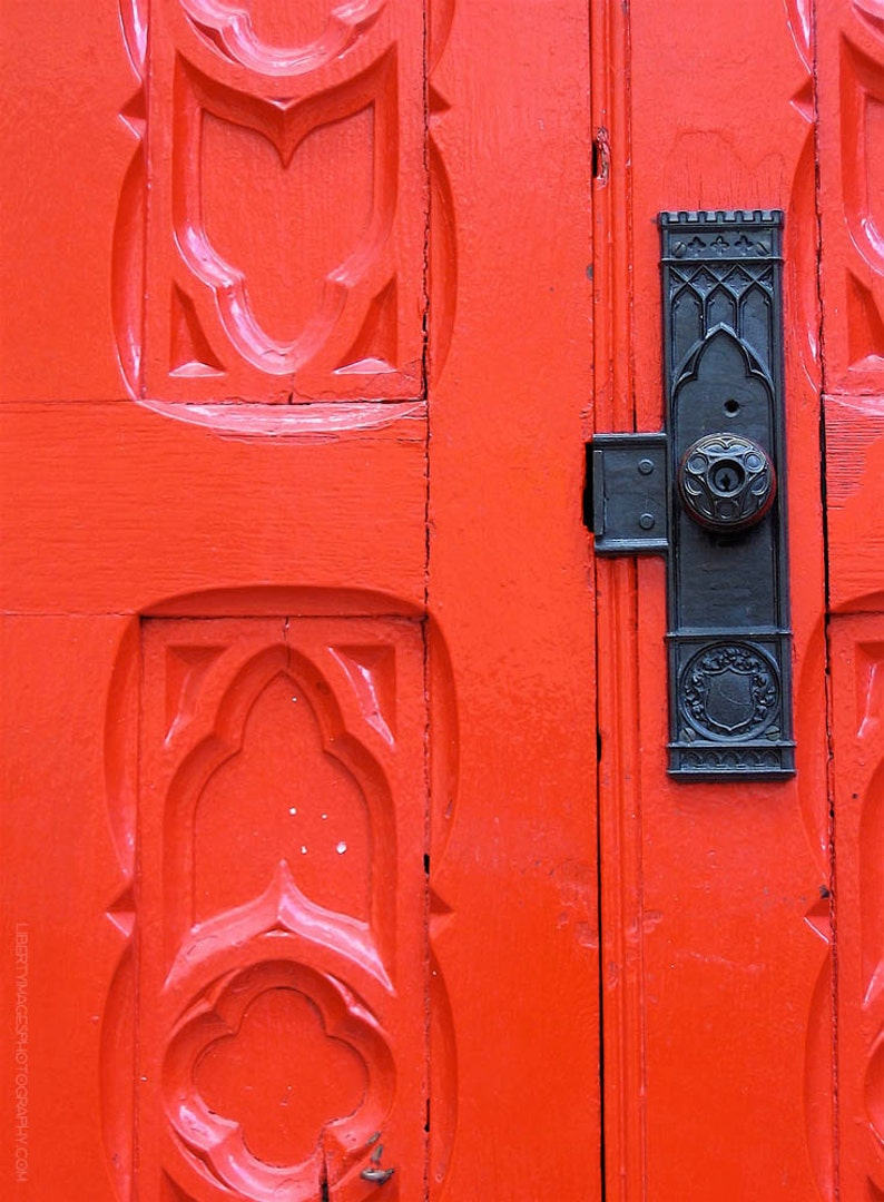Red Church Door Photograph  5x7 Architecture Art Photo  image 0