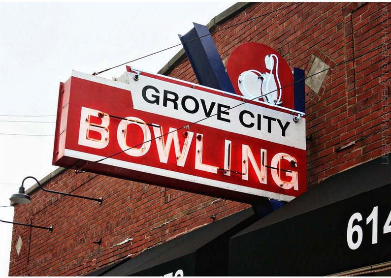 Neon Bowling Alley Sign Photograph  Red White Vintage Sign image 0