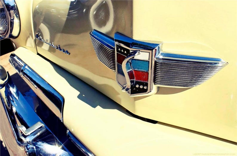 Classic Car Photography  Yellow Vintage Studebaker Emblem image 0