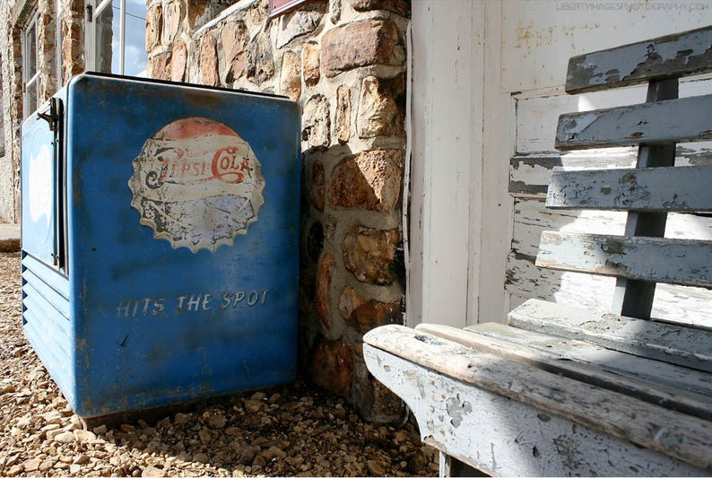 Old Pepsi Cooler Stone Wall Photo  Documentary Photograph of image 0