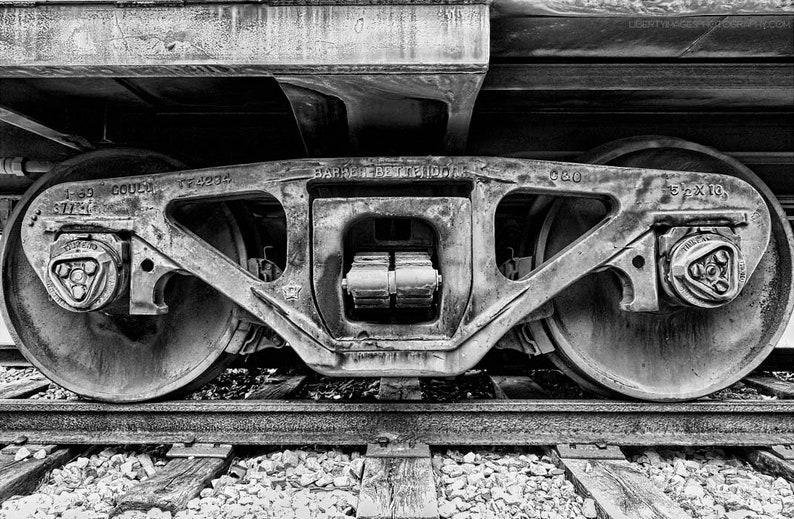 Black and White Train Photo  Train Wheels Closeup  B&W Train image 0