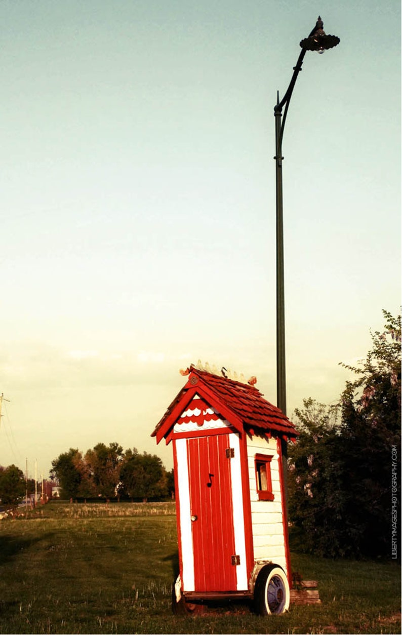 Quirky Funny Outhouse On Wheels Photo  5x7 Photo of Silly image 0