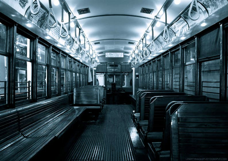 Trolley Car Aisle Photo  Black and White Old Streetcar image 0
