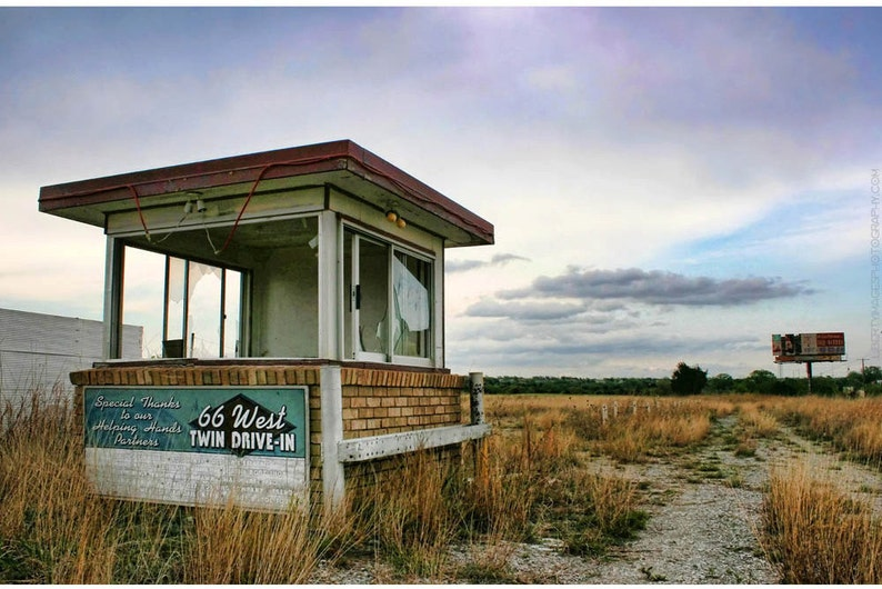 Abandoned Drive-In Sunset Photograph  Route 66 Documentary image 0