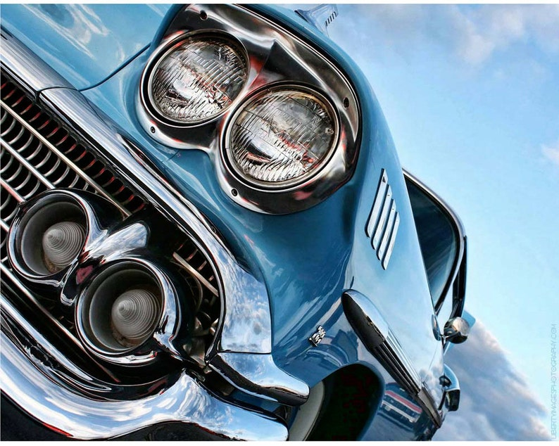 1950s Classic Car Wall Art Photography  Blue Chevy Impala image 0