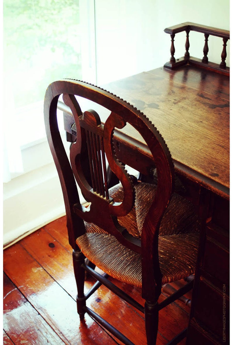 Lyre-Back Wooden Chair and Desk Photograph  Antique Furniture image 0