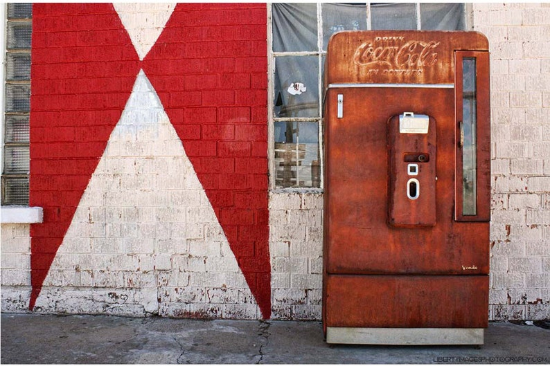 OId Rusty Coca-Cola Machine Against Red & White Wall  9x12 image 0