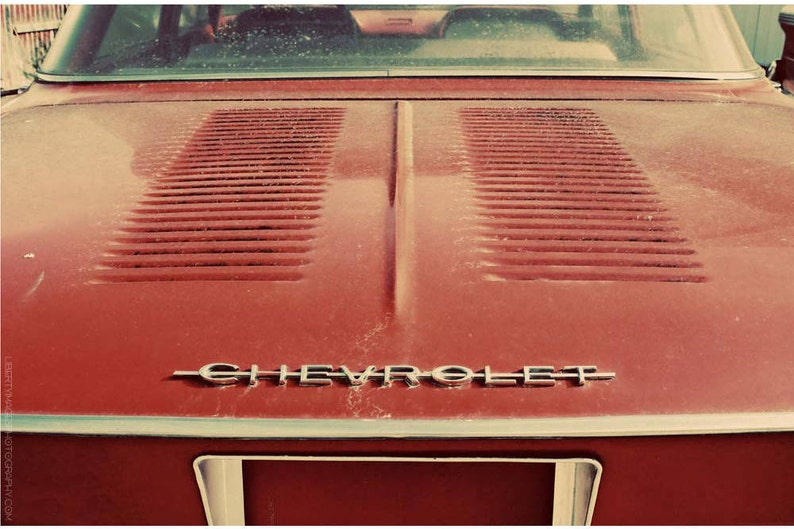 Red Classic Car Photo  Vintage Cars Wall Art  Dusty Corvair image 0