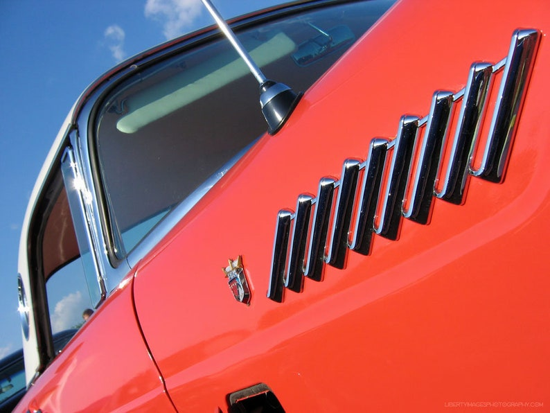 Classic Car Detail Wall Art  Fire Orange Ford Thunderbird image 0
