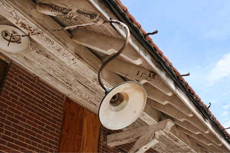 Weathered Train Station Rafters and Lamp Photo  Abandoned image 0