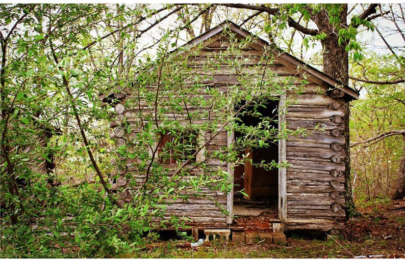 Abandoned Tourist Log Cabin Photo  Route 66 Photography  image 0