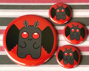 Cute Mothman | Pin, Button, Magnet, Bottle Opener, Pocket Mirror, Keychain | Cryptid Cryptozoology Monster | Spooky Horror Flair Accessory