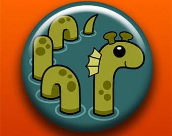 Loch Ness Monster | Pin Button Magnet Bottle Opener Keychain | Fantasy Folklore Creature Scotland Cryptozoology Dinosaur Sea Serpent Snake