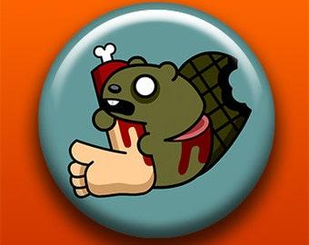 Zombie Beaver | Button, Magnet, Keychain, Bottle Opener, Pocket Mirror | Horror Creepy Cute Animal Halloween Undead Monster Walking Dead
