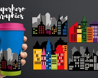 Superhero clipart - Skyline CIty buildings block clipart - Skyscraper clip art - Superhero city scene background clipart - Digital images