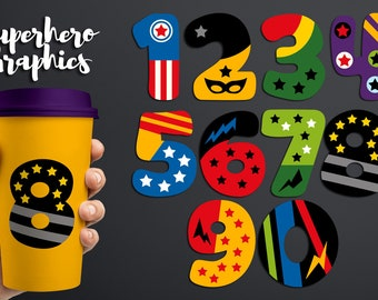 Numbers clip art commercial use, Superhero png graphics, digital download