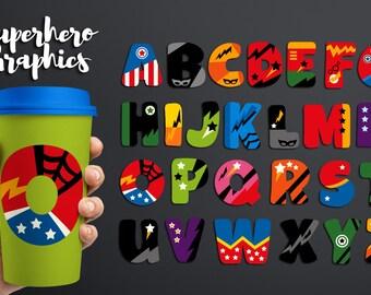 Superhero alphabet clipart - Big caps, uppercase ABC Alphabet clip art - superhero letters design digital download - commercial use