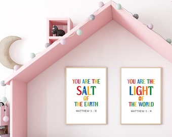 Printable wall art set of 2. You are the salt of the earth. You are the light of the world. Bible quotes posters for kids room