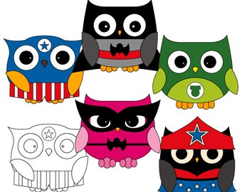 Superhero owls clipart - superhero clipart - owls clip art - digital images, commercial use, instant download