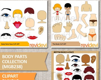 Commercial use clip art / Body parts collection clipart bunde / the body, face, head / digital download / graphic by revidevi