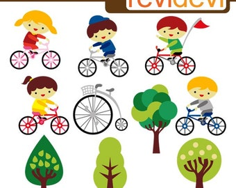 Kids Riding Bicycle Clipart Sale