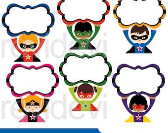 Superhero clipart / Superhero fancy sign clip art, Cute superheroes clipart, digital download - commercial use