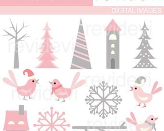 Winter clipart / pink gray / Sweet Pink Winter - Birds, trees, snowflakes clip art / Scandinavian winter design download
