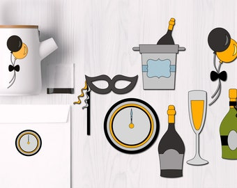 new year clipart new years eve clip art new year party clipart commercial use graphics champagne bottles and glass clipart