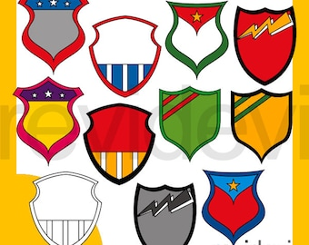 Superhero clipart / Superhero Shield Badge clipart - superhero clip art tags, labels - commercial use, instant download graphics